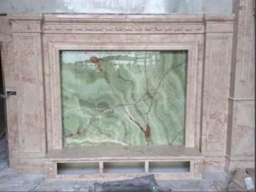 大理石+玉石电视背景墙