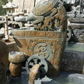 园林雕刻 石雕流水池鱼缸