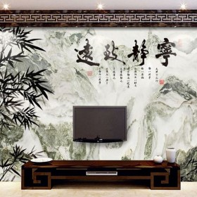 天然石材山水画家装背景墙