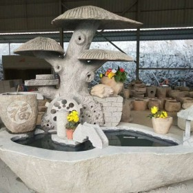 石材雕刻产品 水池 趣味石雕