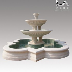 供应定制纯手工雕刻优质汉白玉西式喷泉