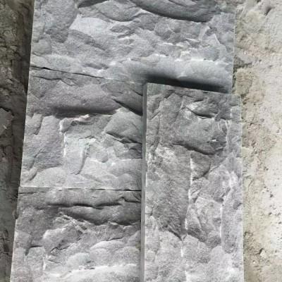 罗田芝麻灰自然面蘑菇石产品 墙面应用
