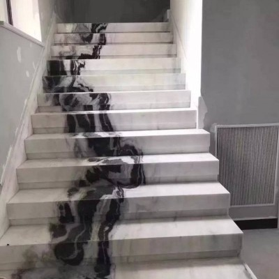 熊猫白网红大理石楼梯