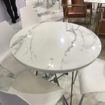 微晶石纹路板圆桌面