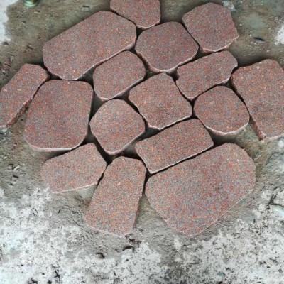 仙人红石材碎拼 地铺石