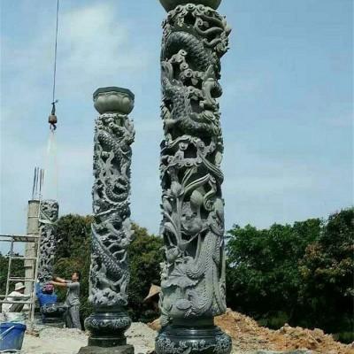 青石龙柱雕刻 湖南青石替代福建辉绿岩青石