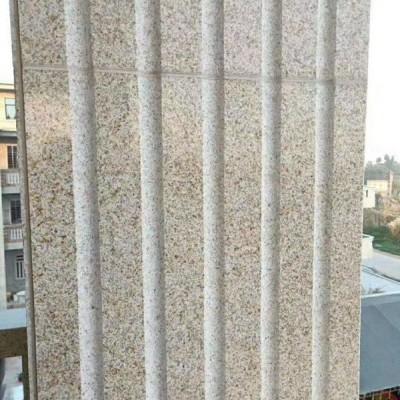 黄锈石外墙干挂柱面凹槽