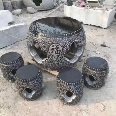 青石石桌圆桌批发 石雕桌凳配套