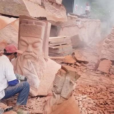 红色石材雕刻 中国红石雕像